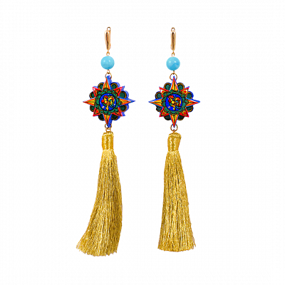 'Tassels' Earrings - «The Golden Cockerel»