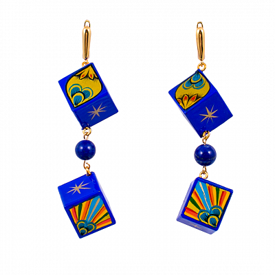 'Blue Agate' Earrings - «The Golden Cockerel»