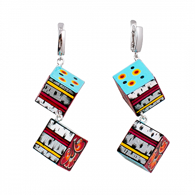 'Cubes' Earrings - «Snow-maiden»